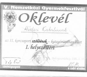 Oklevél Hódosi Katalin